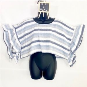 BCBGeneration STRIPED CROP TOP BLUE WHITE XSMALL.